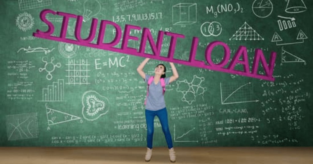 A student standing in front of a board with arithmetic calculation about students loans