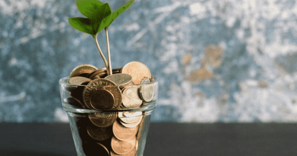 Coins in a glass with a seedling growing from it