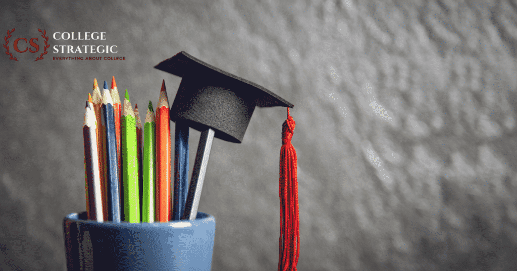 A graduation cap hanging on a pile of pencils-Two year college degrees that pay well