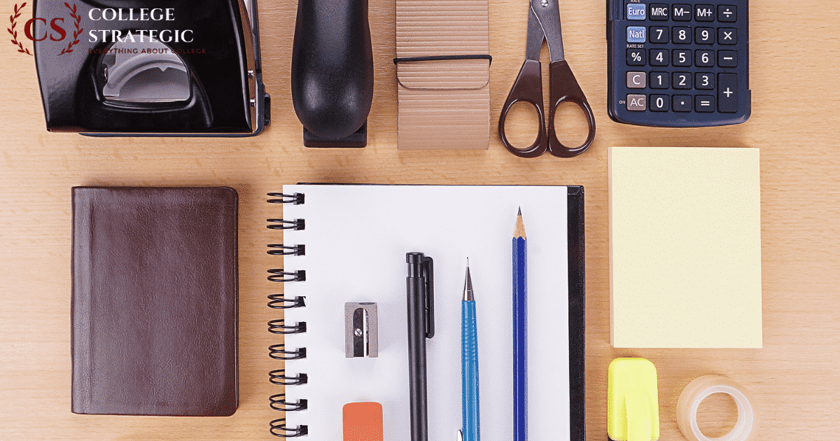 Stationery on a table-College essentials for class