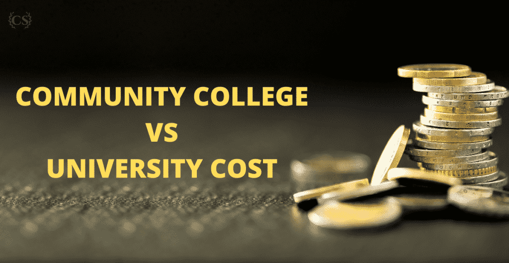 A picture of some coins on a surface: community college vs university cost